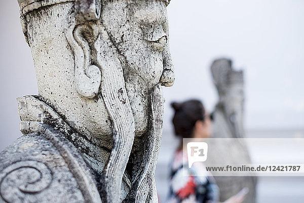 Thailand  Bangkok  statue of temple Wat Pho