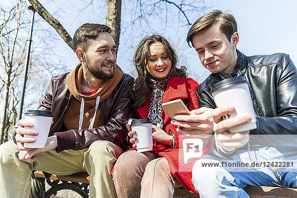 Russia  Moscow  group of friends at park  having fun together  drinking coffee and using phones