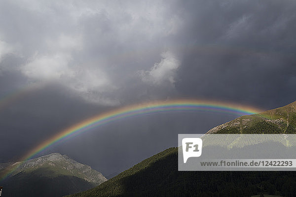 Switzerland  Grisons  Engadin  S-Chanf  rainbow