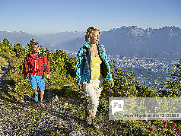 Austria  Tyrol  Couple hiking the Zirbenweg at the Patscherkofel