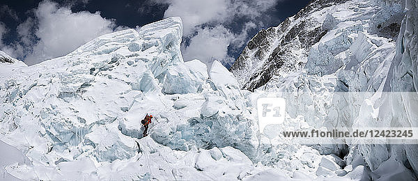 Nepal  Solo Khumbu  Everest  Sagamartha National Park  Mountaineer climbing in the ice