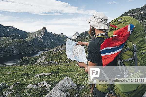 Norway  Lofoten  Moskenesoy  Man with backpak and Norwegian flag holding map