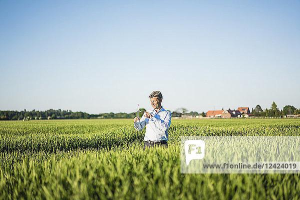Businessman standing in grain field  holding miniature wind wheel