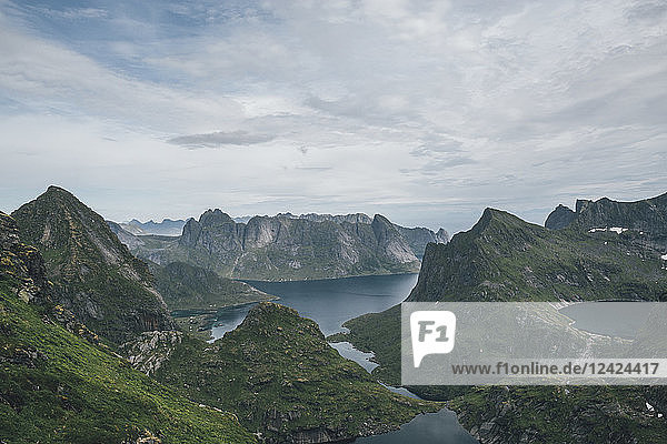 Norway  Lofoten  Moskenesoy  Hermannsdalstinden and Kjerkefjord