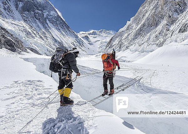 Nepal  Solo Khumbu  Everest  Sagamartha National Park  Mountaineers crossing icefall at Western Cwm