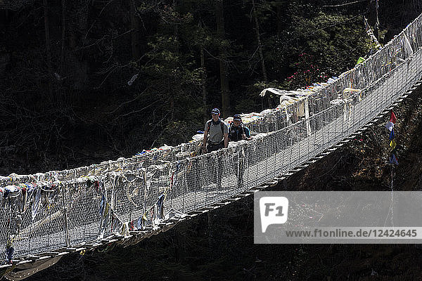 Nepal  Solo Khumbu  Everest  Sagamartha National Park  Two people crossing suspension bridge