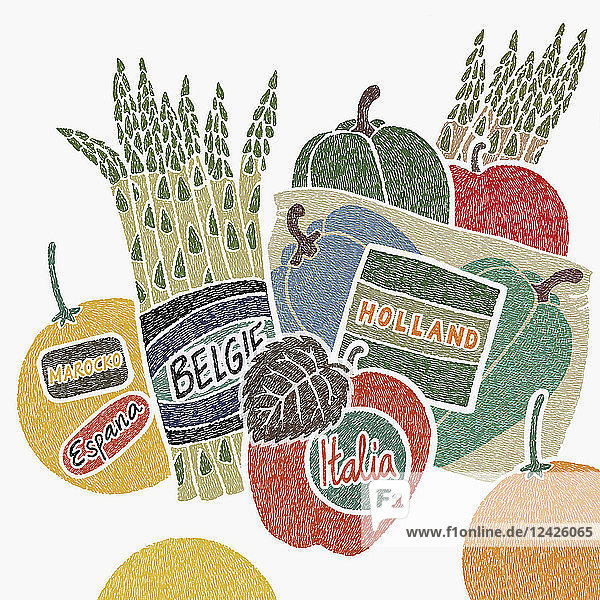 Food labels with country of origin Food labels with country of origin