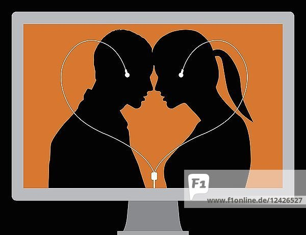 Couple connected by computer headphones