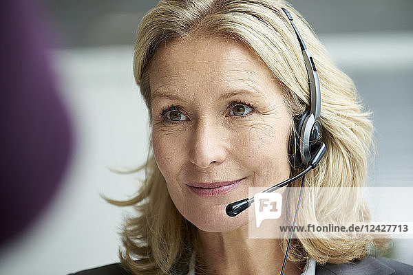 Telecaller with headset