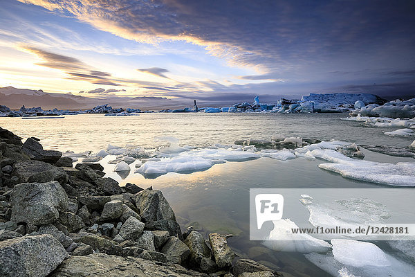 Majestic natural scenery of icebergs floating on water in Jokulsarlon glacier lagoon  Iceland