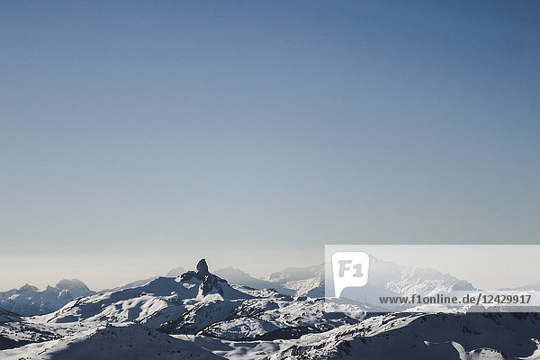 Majestic view of snow covered mountains in winter under clear sky  Whistler  British Columbia  Canada