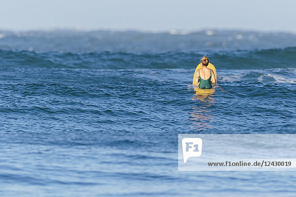 Rear view of female longboard surfer in swimsuit waiting for wave in sea