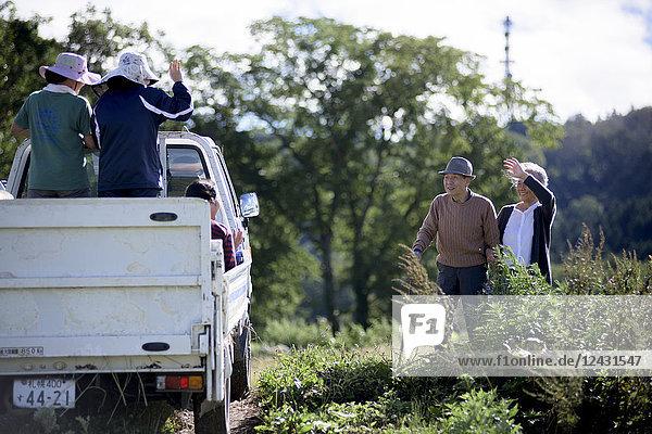 Ehemann und Ehefrau  älterer Mann mit Hut und Gehstock und ältere Frau  die auf dem Weg steht und den Frauen winkt  die auf einem vorbeifahrenden Lastwagen sitzen.