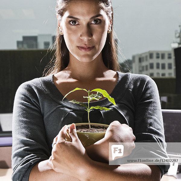 Hispanische Frau mit einer Zimmerpflanze in einer Bürokabine.