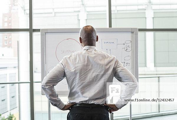 Blick von hinten auf einen Geschäftsmann  der an einer weißen Tafel vor einem großen Fenster steht.
