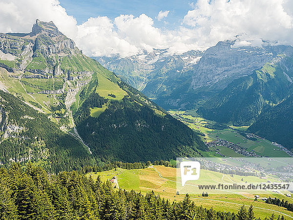 Mountain and valley view  above Engelberg  Swiss Alps  Switzerland  Europe