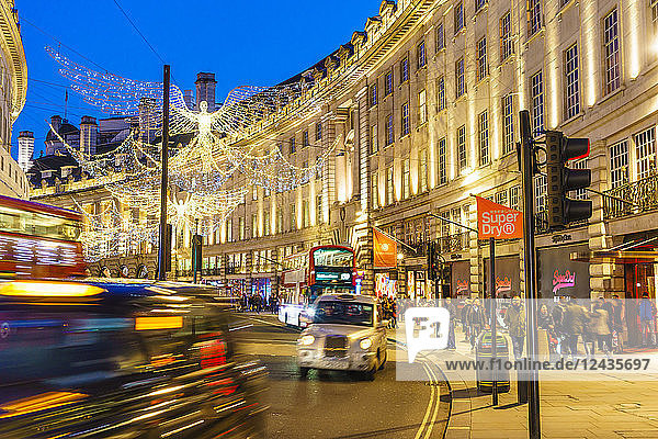 Regent Street with Christmas decorations  London  England  United Kingdom  Europe