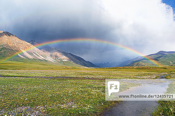 Rainbow over Naryn Gorge  Naryn Region  Kyrgyzstan  Central Asia  Asia
