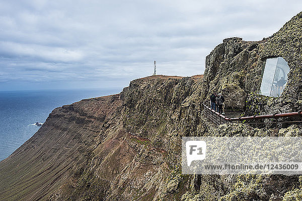 View over the cliffs from the Mirador del Rio observation point created by Cesar Manrique,  Lanzarote,  Canary Islands,  Spain,  Atlantic,  Europe