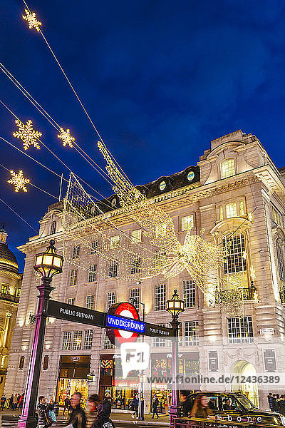 Christmas decorations at Piccadilly Circus  London  England  United Kingdom  Europe