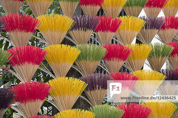 Colourful scented incense sticks drying near the Tomb of the Emperor Khai Dinh near Hue  Vietnam  Indochina  Southeast Asia  Asia
