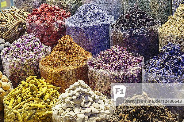 Spices for sale in the Spice Souk  Al Ras  Deira  Dubai  United Arab Emirates  Middle East