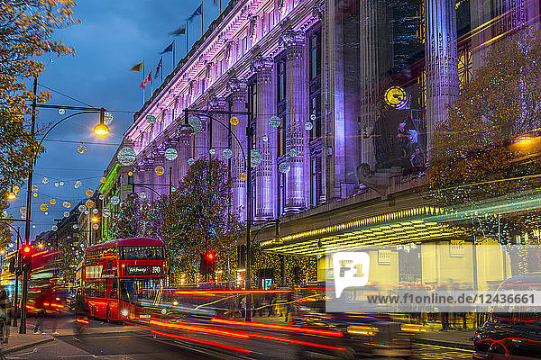 Selfridge's Department Store  Christmas Lights  Oxford Street  The West End  London  England  United Kingdom  Europe