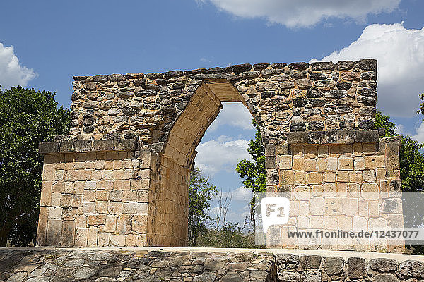 Mayan Ruins  Northern Arch  Oxkintok Archaeological Zone  300 to 1050 AD  Yucatan  Mexico  North America