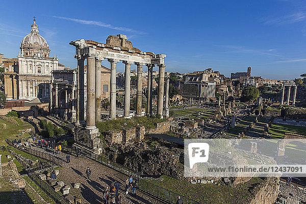 Saturn's Temple  Roman Forum  UNESCO World Heritage Site  Rome  Lazio  Italy  Europe