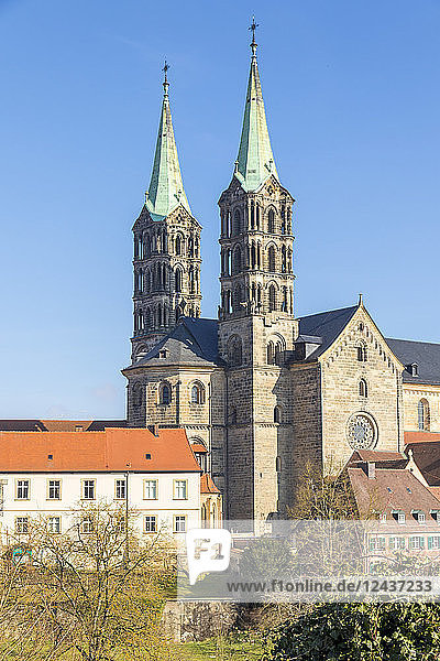 View to the Cathedral of Bamberg  Bamberg  UNESCO World Heritage Site  Upper Franconia  Bavaria  Germany  Europe
