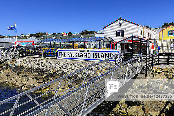 Welcome to The Falkland Islands sign  Stanley Harbour  Port Stanley  Falkland Islands  South America