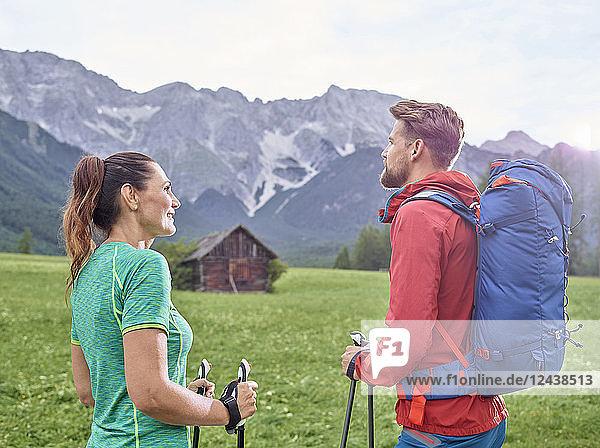 Austria  Tyrol  Mieming  couple hiking in alpine scenery