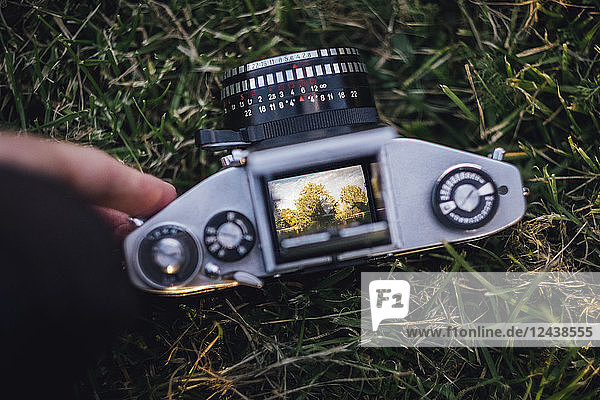 Analogue camera lying on grass