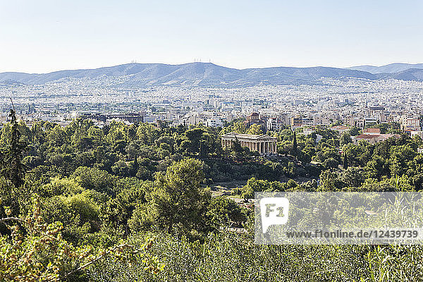 Greece  Attica  Athens  Agora  Temple of Hephaestus and cityscape