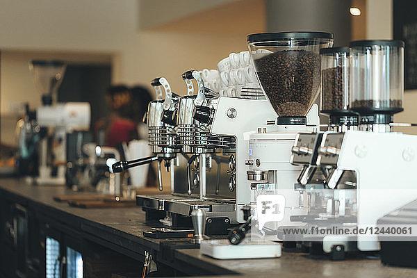 Espresso maker in a coffee bar