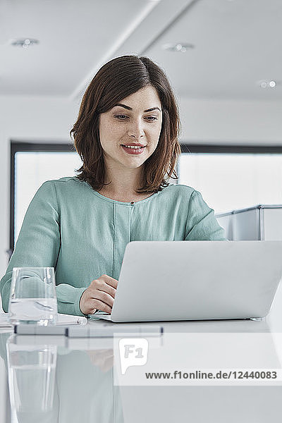 Young businesswoman using laptop at desk in office