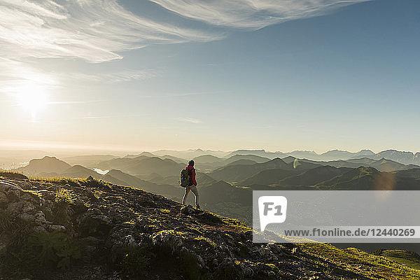 Austria  Salzkammergut  Hiker walking alone in the mountains