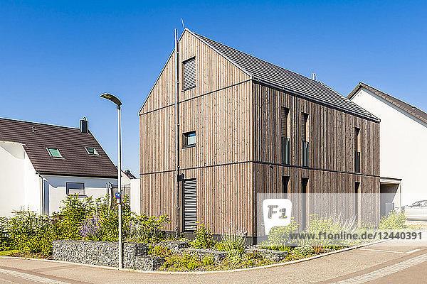 Germany  Baden-Wuerttemberg  Stuttgart  Ostfildern  modern efficiency house  wooden facade  thermal insulation