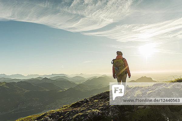 Austria  Salzkammergut  Hiker standing on summit  looking at view