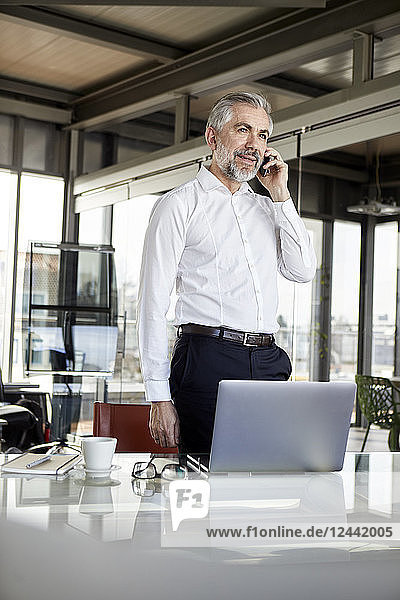 Businessman on cell pohone at desk in office