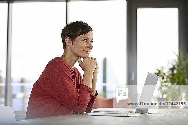 Smiling woman sitting at table at home using laptop