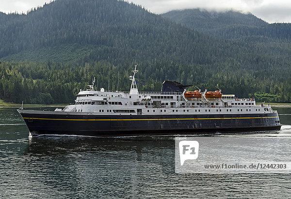 Alaska State Ferry M/V Matanuska heading North through Wrangell Narrows  Southeast Alaska; Alaska  United States of America