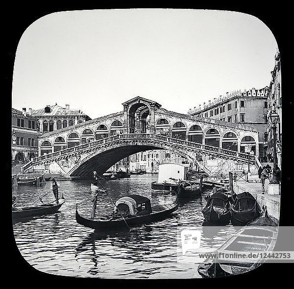 Rialto Bridge  Venice circa 1900 on a magic lantern slide. Photograph created in 1888 by Joseph John William; Venice  Italy