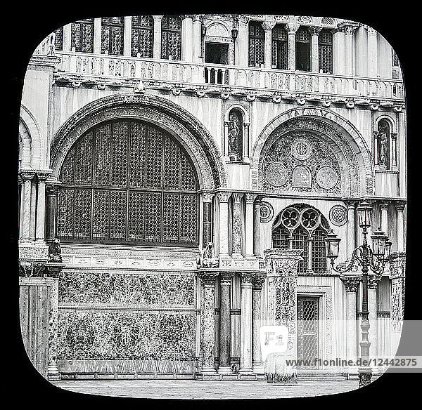 St. Mark's Cathedral  Venice circa 1900 on a magic lantern slide  photographs created in 1888 by Joseph John William. Details of the decorative facade on the South side of the building; Venice  Italy