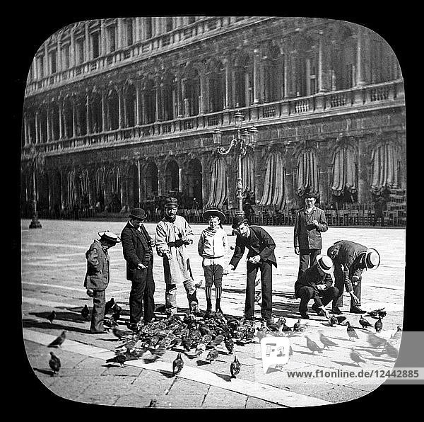 Feeding the pigeons in the Piazza of St. Mark's  Venice circa 1900  on a magic lantern slide Photograph taken by Joseph John William in 1888; Venice  Italy