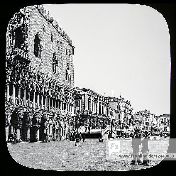 Doge's Palace and Riva degli Schiavoni  Venice circa 1900 on a magic lantern slide. Photographs created in 1888 by Joseph John William; Venice  Italy