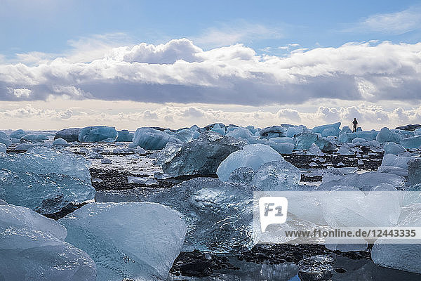The icebergs of Jokulsarlon along the South coast  Iceland