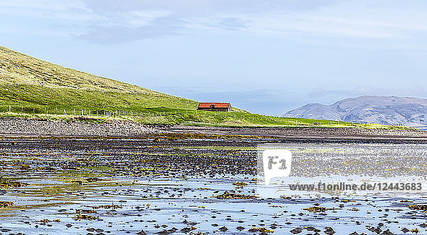 A single farmhouse on the edge of the Kirkjufell mountain and the Atlantic ocean in the Snaefellsnes peninsula  Western Iceland  Grundarfjorour  Iceland