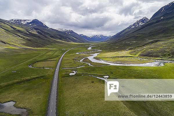 Aerial view of the scenic landscape of Northern Iceland  with Highway 1  the ring road  Iceland