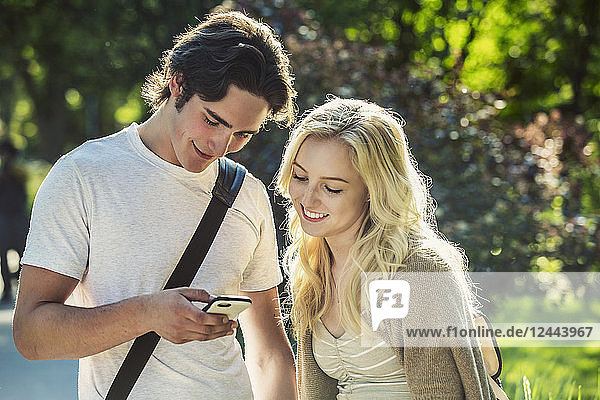 A young couple stand together on the university campus looking at a smart phone  Edmonton  Alberta  Canada